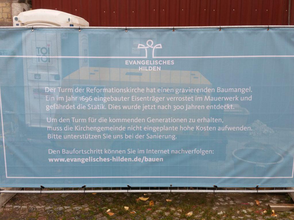 Erläuterungen zum Spendenbanner für den Turm der Reformationskirche