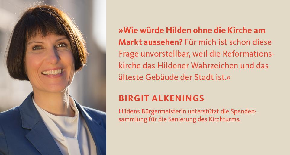 Birgit Alkenings unterstützt die Spendensammlung für den Turm der Reformationskirche