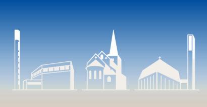 Zeichnung der drei Hildener Kirchen