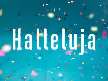 Halleluja – Schrift auf Konfetti Hintergrund