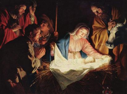 Die heilige Familie mit dem neugeborenen Christuskind.